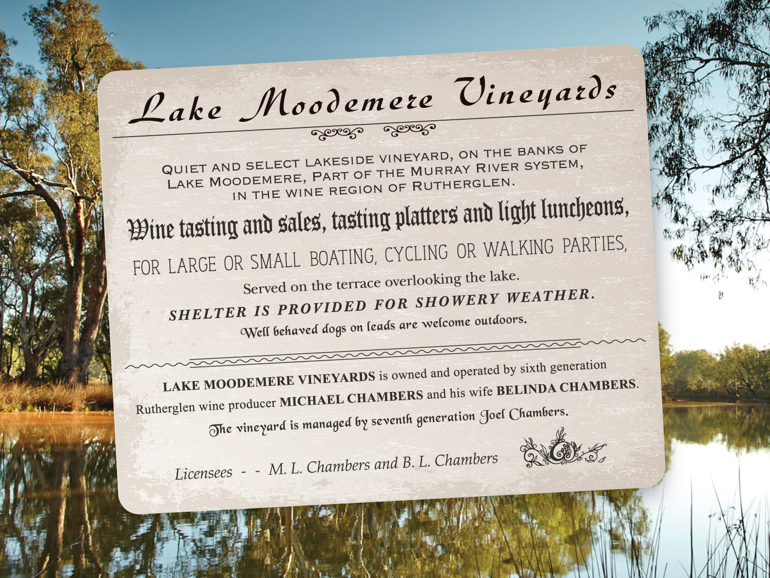 Lake Moodemere Wines Sign