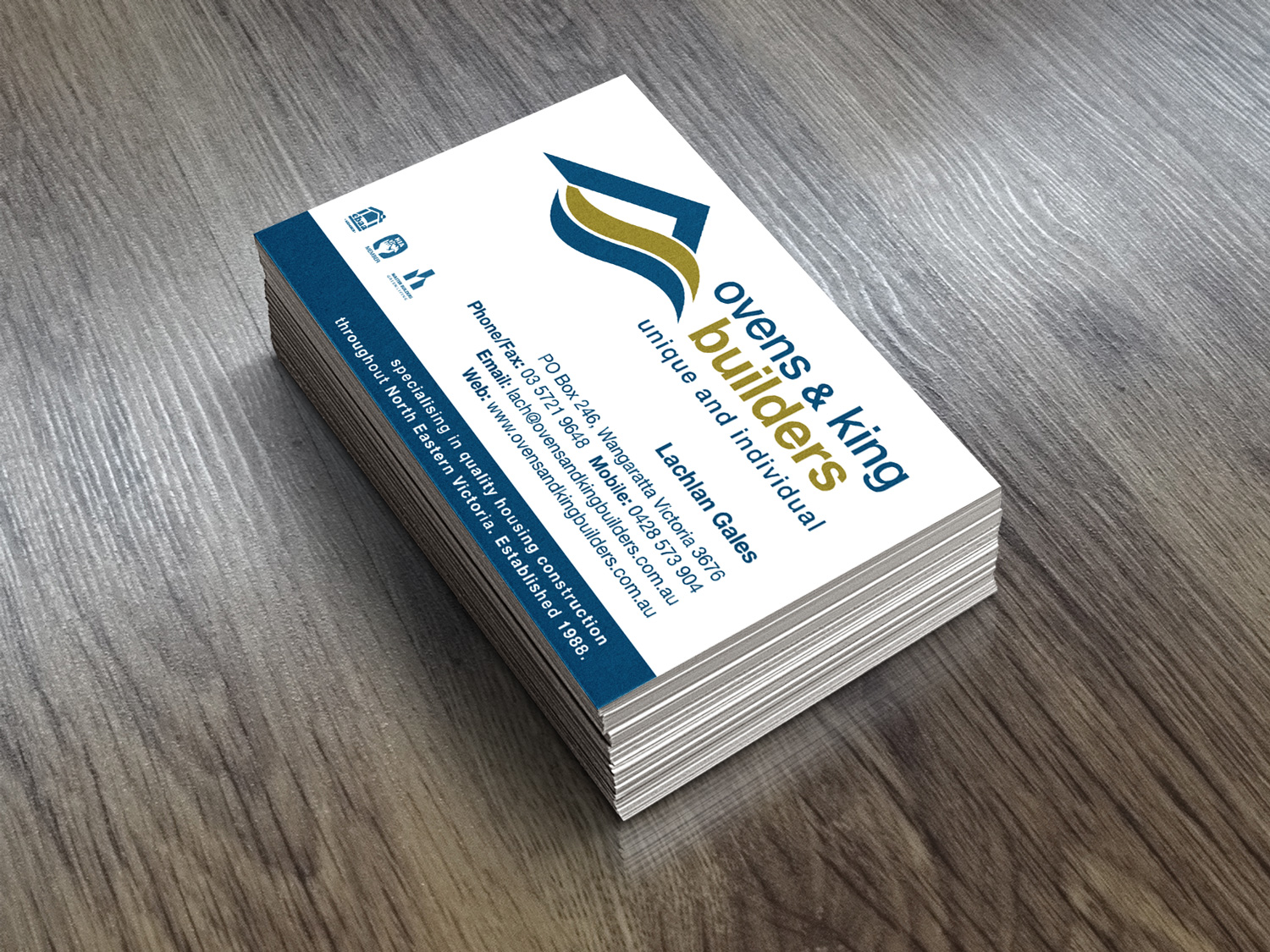 Ovens & King Builders Business Cards