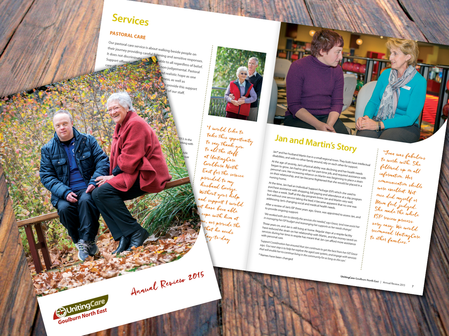 UnitingCare Goulburn North East – Annual Report 2015 – Purple Possum Design – Graphic Design Wangaratta