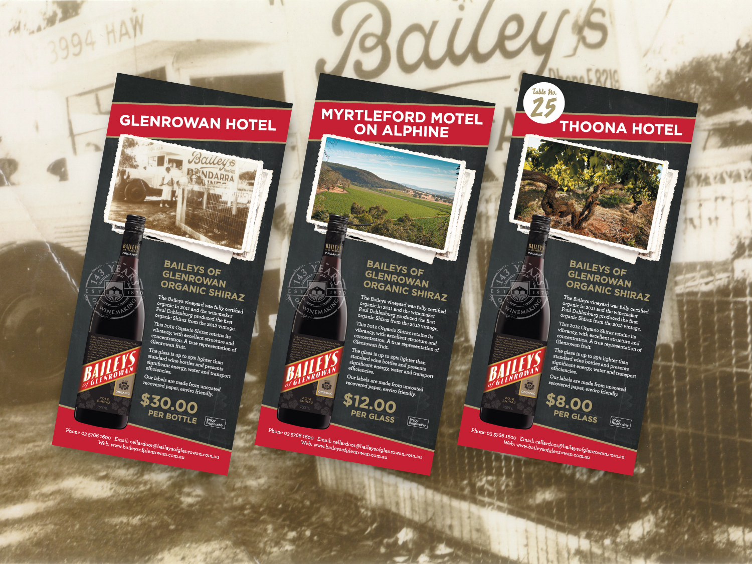 Baileys of Glenrowan DL Postcards – Purple Possum Design – Graphic Design Wangaratta