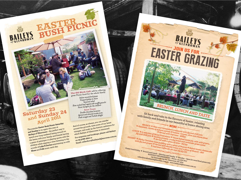 Baileys of Glenrowan Easter Picnic Posters – Purple Possum Design – Graphic Design Wangaratta