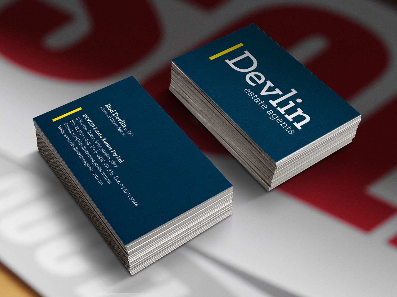 Devlin Estate Agents Business Cards – Purple Possum Design – Graphic Design Wangaratta