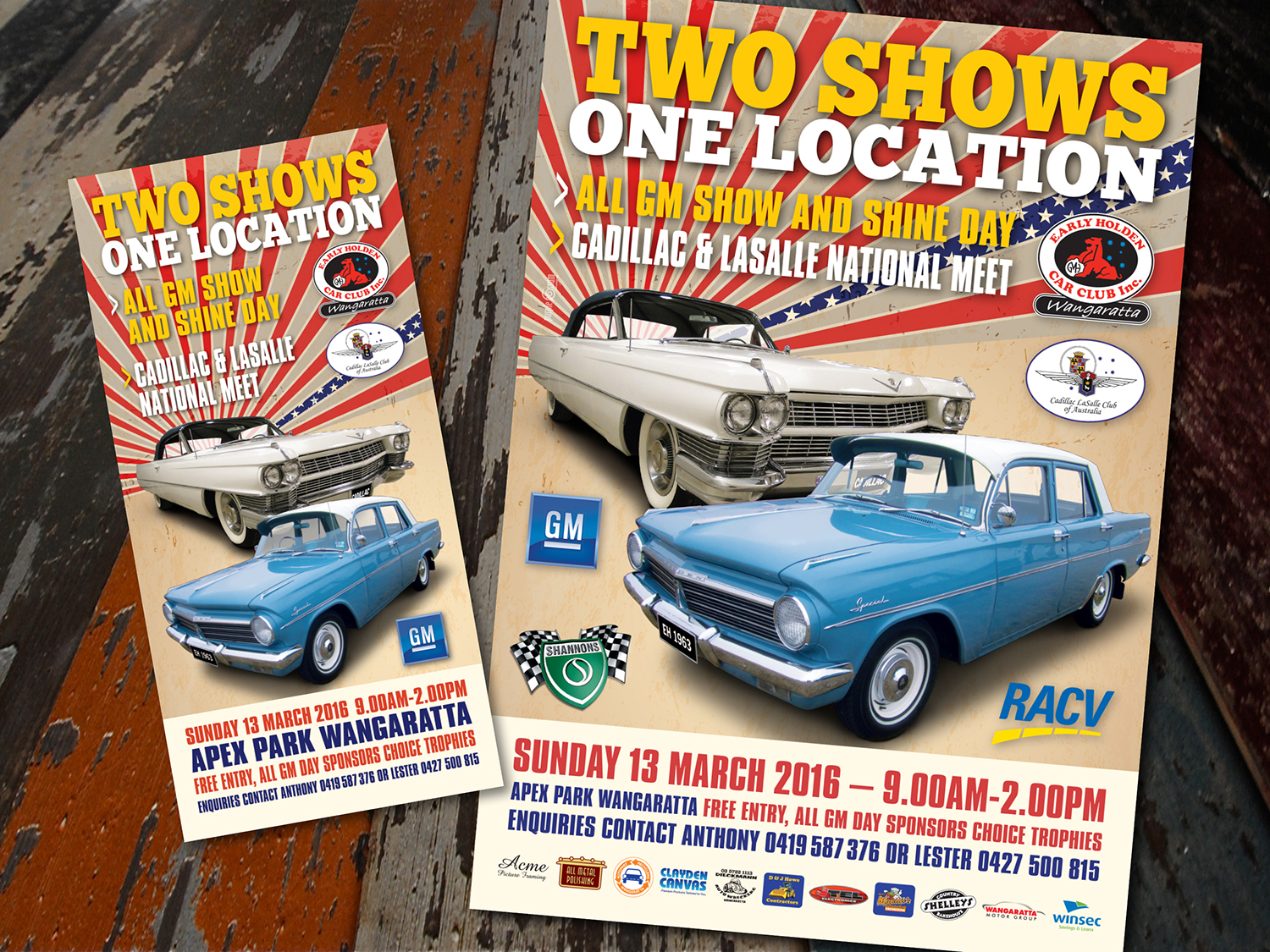 Early Holden Car Club Event Poster and DL Postcard – Purple Possum Design – Graphic Design Wangaratta