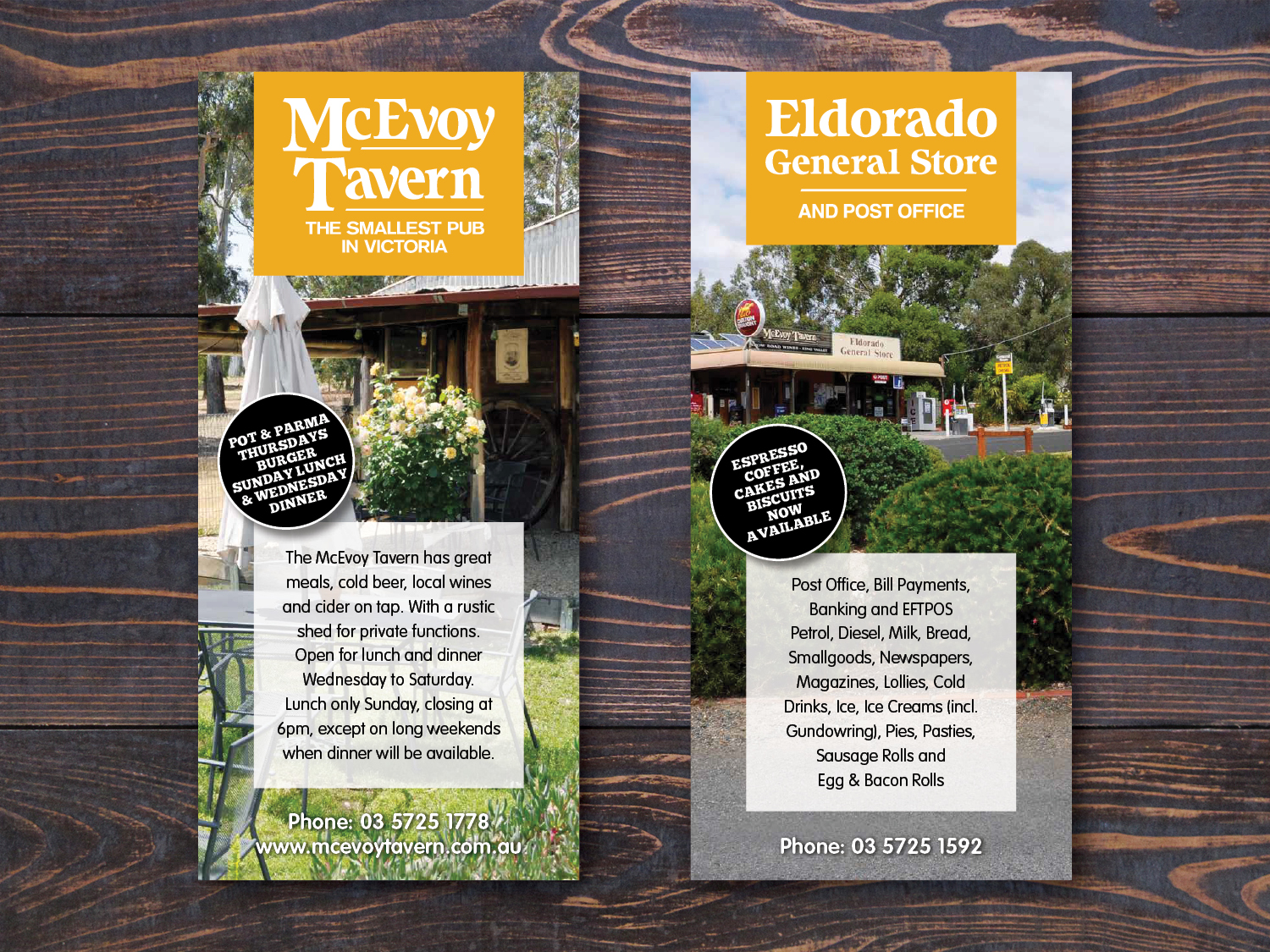 McEvoy Tavern DL Postcards – Purple Possum Design – Graphic Design Wangaratta