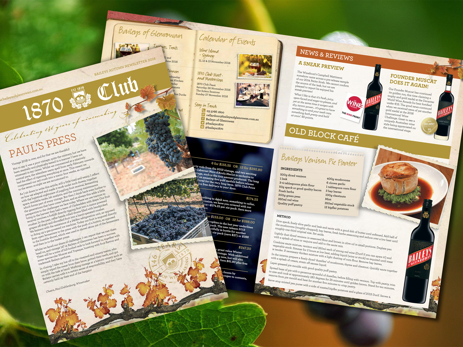 Baileys of Glenrowan 1870 Club Newsletter – Purple Possum Design – Graphic Design Wangaratta
