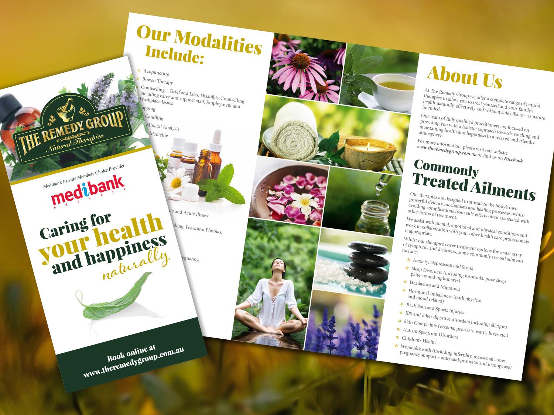 The Remedy Group DL Brochure – Purple Possum Design – Graphic Design Wangaratta