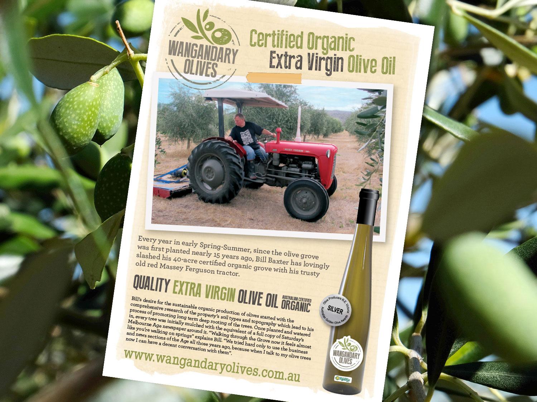 Wangandary Olives Organic Oil Poster – Purple Possum Design – Graphic Design Wangaratta