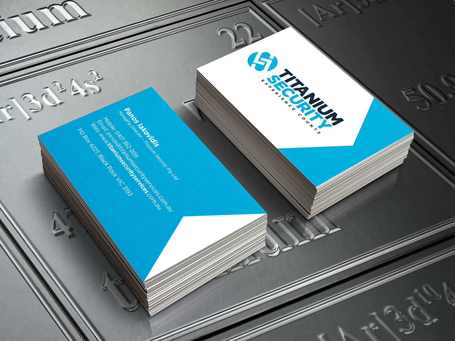 Titanium Security Business Cards – Purple Possum Design – Graphic Design Wangaratta