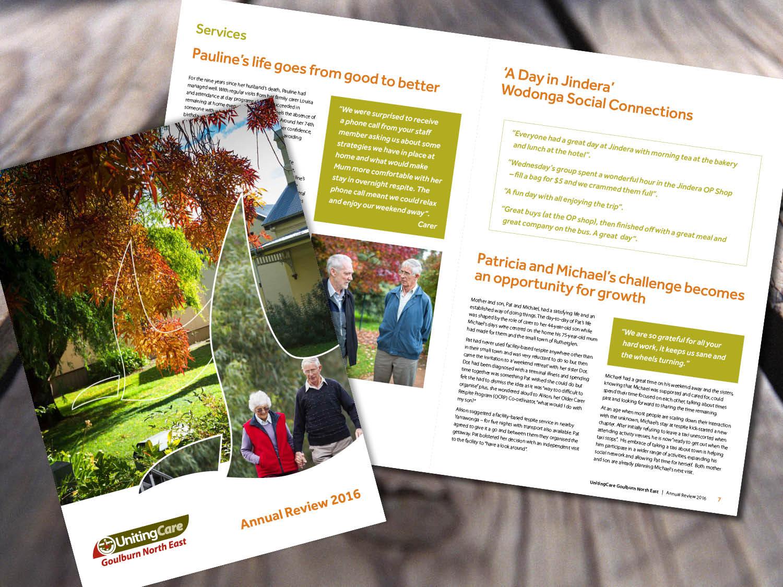UnitingCare Goulburn North East – Annual Report 2016 – Purple Possum Design – Graphic Design Wangaratta
