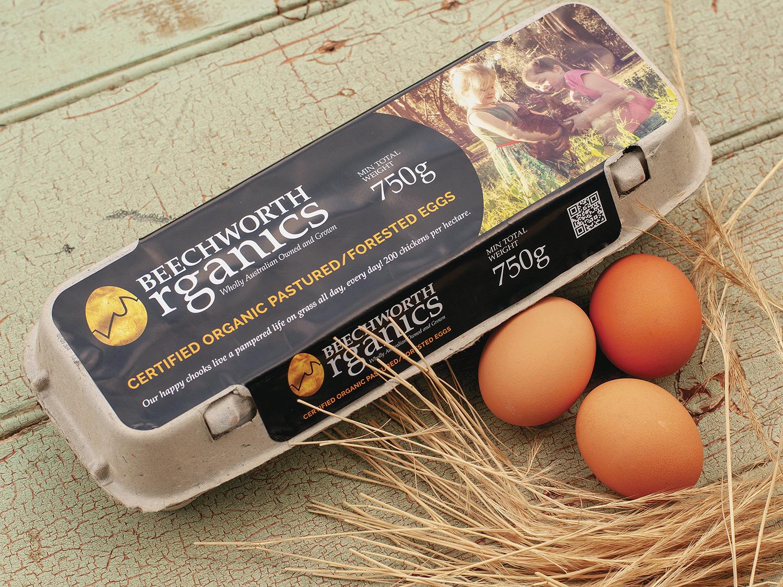 Beechworth Organics Egg Carton Label – Label Design Wangaratta – Purple Possum Design