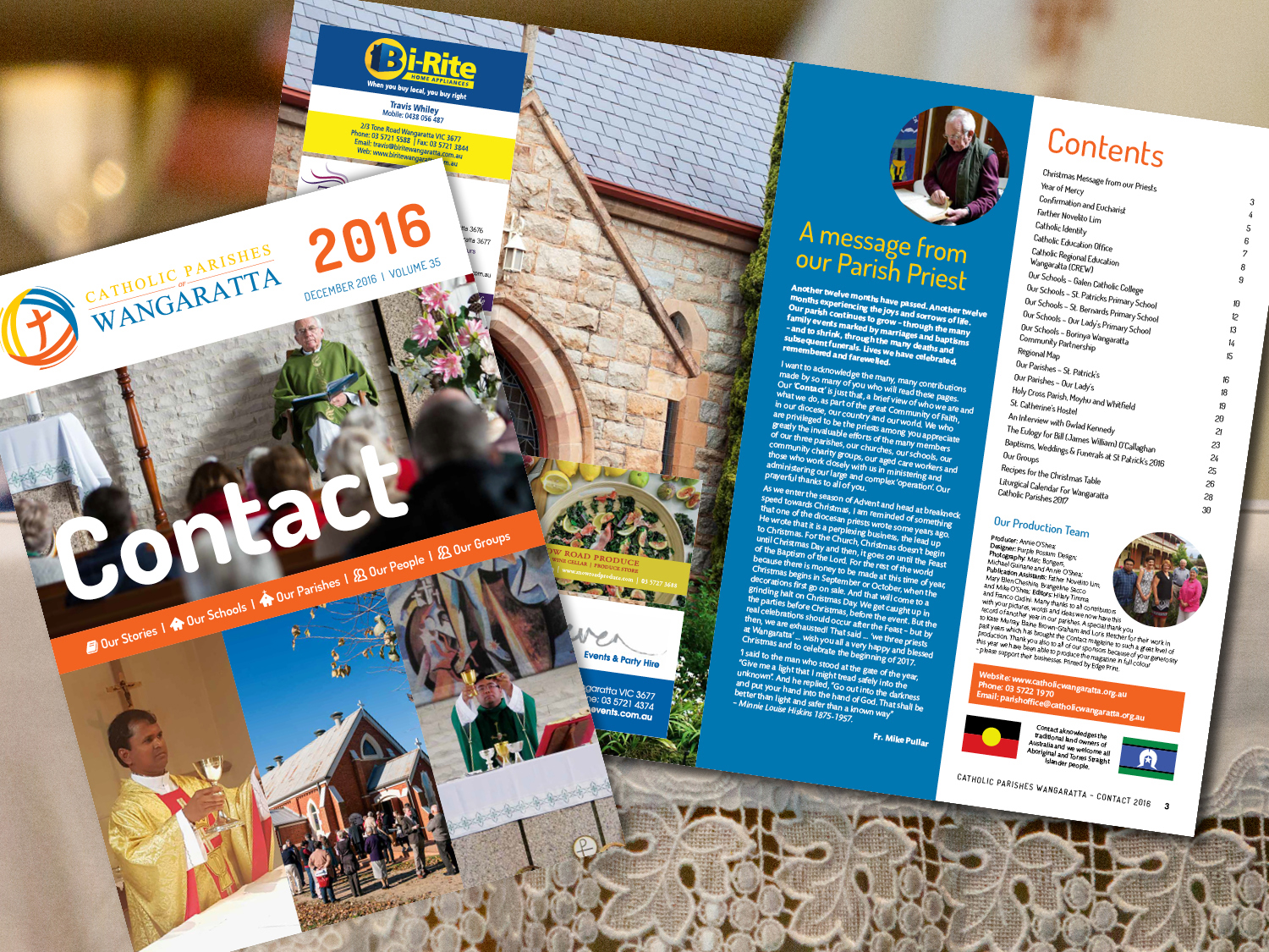 Catholic Parishes Wangaratta Contact Magazine 2016 – Purple Possum Design – Graphic Design Wangaratta